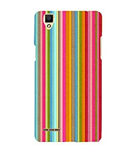 Colorful Line Pattern Cute Fashion 3D Hard Polycarbonate Designer Back Case Cover for Oppo F1