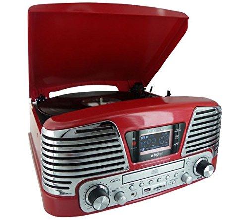BigBen Interactive - Giradischi a 3 velocità, con radio, lettore scheda SD, CD, USB 2.0, MP3, colore: Rosso metallizzato