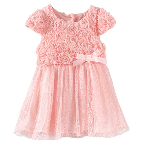 LittleSpring Baby Girls' Party Dresses Flowers Size 9M Pink