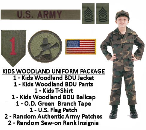 Kids Woodland BDU Military Uniform Army Costume