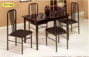 5pc Dining Table & Chairs Black Finish