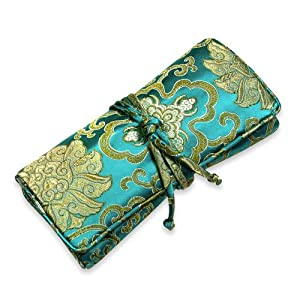 Jewelry Roll (Large) - Silk Brocade (Marine Lotus)