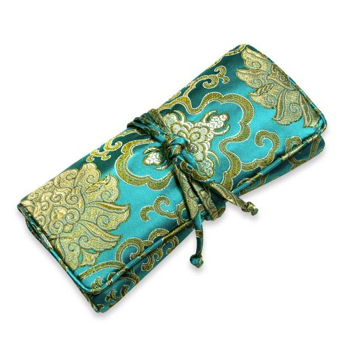Jewelry Roll Large - Silk Brocade (Lotus Marine)