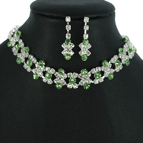 Silver and Green Peridot Crystal Rhinestone Choker Necklace Set