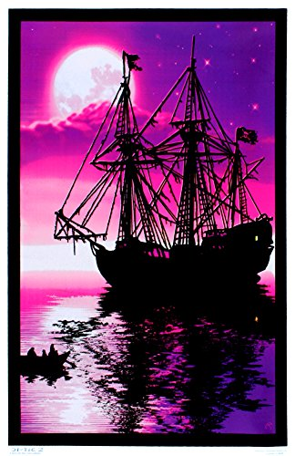 Moonlit Pirate Ghost Ship Blacklight Poster Art Print 23 x 35in