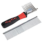 Dog Comb, SySrion® Pet Grooming Comb Tool - Dog Rake Comb Trimmer Stainless Steel Dog Comb with High Quality