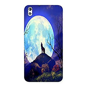 Ajay Enterprises Blue Nature White Moon Back Case Cover for HTC Desire 816
