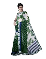 Aadarshini Women's Faux Georgette Saree (1077, Off White And Green)