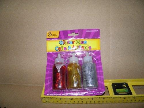 glitter glue, red gold silver, 3 packs, 3 per pack