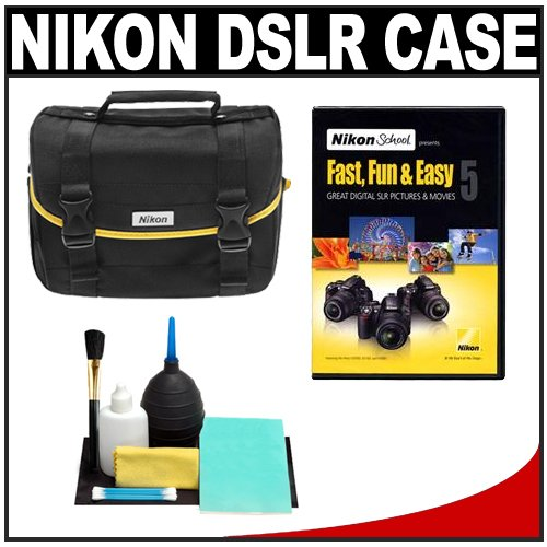 Nikon D3100 D3000 D5000 DSLR Digital Starter Kit with D-SLR Camera System Case + Nikon School Instructional DVD Fast, Fun & Easy 5 & Cleaning Kit