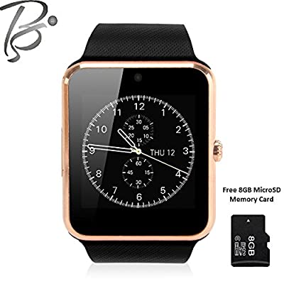 Blackseed Advance GT08S (GOLD) Smart Watch with Sim and Memory Slot + Free 8GB MicroSD Memory Card