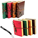 Estone Classic Retro Vintage Leather Bound Blank Pages Journal Diary Notepad Notebook (Red)