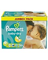 Pampers Baby Dry Taille 4 Maxi 7-18 kg Jumbo+Pack 78 Couches