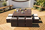 Rattan 6-10 Seat Garden Furniture Cube Set For Outdoor Patio or Conservatory