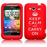 Keep Calm and Carry On Silicone Case for HTC Wildfire Lasred S + LCD Protector handhelds pdas