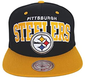 Pittsburgh Steelers Mitchell & Ness Block Snapback Cap Hat Black Yellow by Mitchell & Ness