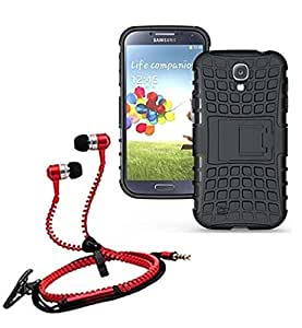 Droit Shock Proof Protective Bumper back case with Flip Kick Stand for Samsung S4 + Stylish zipper hand free for all smart phones by Droit Store.