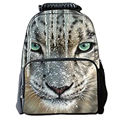 Vere Gloria Unisex School Backpack Bags 3D Animal Print Felt Fabric Hiking Daypacks (snow leopard)