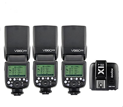 3X-Godox-V860II-S-HSS-GN60-24G-TTL-Li-on-Battery-Camera-Flash-Speedlite-Godox-X1T-S-Wireless-Trigger-Transmitter-for-Sony-HuiHuang-USB-LED-Free-gift