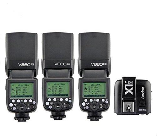 3X-Godox-V860II-S-HSS-GN60-24G-TTL-Li-on-Battery-Camera-Flash-Speedlite-Godox-X1T-S-Wireless-Trigger-Transmitter-for-Sony-HuiHuang-USB-LED-Free-gift