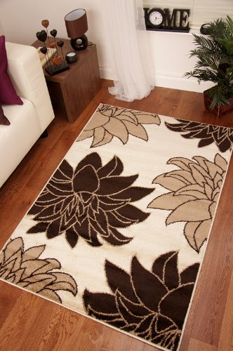 Modern High Quality Frise Yarn Beige Brown Flower Area Rug - 8 Sizes