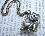 WAWO Pocket Watch Necklace Wall Chart Pendant Bronze (Cat)