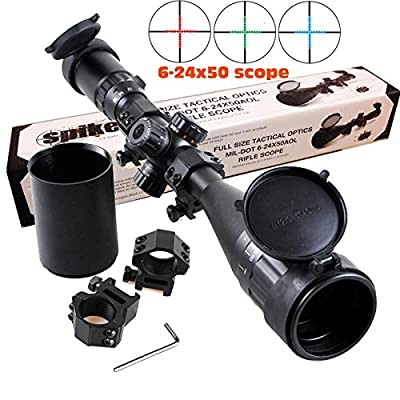 Ledsniper®riflescope 6-24x50 Aoe Red & Green & Blue Illuminated Mil-dot Adjustable Intensified Rifle Scope + Sunshade + Flip-up Caps + Rail Mounts from Ledsniperus Seller