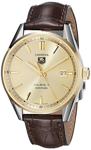 TAG Heuer Men's Swiss Automatic Steel And 18K Gold Brown Leather Casual Watch (Model: WAR215A.FC6181)