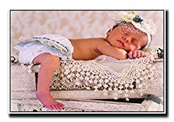 Posterhouzz Baby sleeping on crates Fine Art Paper Print Poster
