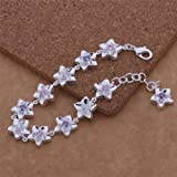 New Fashion 925 Silver Plated Bracelets Star Flower Charms Bangle+Gift Bag