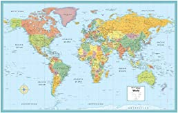 World Wall Map Deluxe Laminated 50