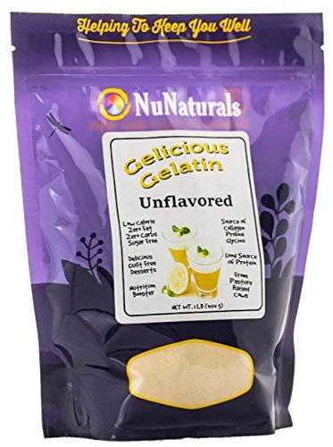 NuNaturals Gelicious Gelatin for Baking and Desserts, Unflavored, 1lb