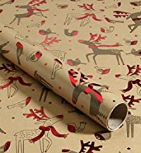 3m Kraft Robin & Reindeer Christmas Wrapping Paper