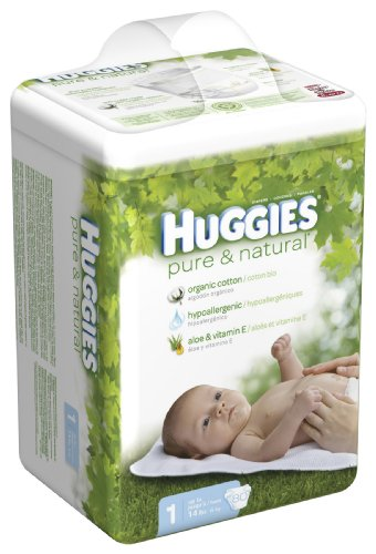 Hies Pure & Natural Diapers, Size 1, 80 Count (Pack of 2)