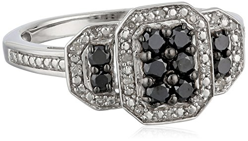Sterling Silver Black and White Diamond (1/2cttw) Twisted Ring, Size 8