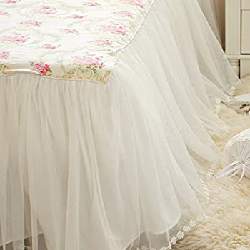 LELVA Girls Bedding Set Lace Ruffle Duvet Cover Princess Bedding Set Vintage Floral Print Duvet Cover Twin Full Queen King (Full, White)