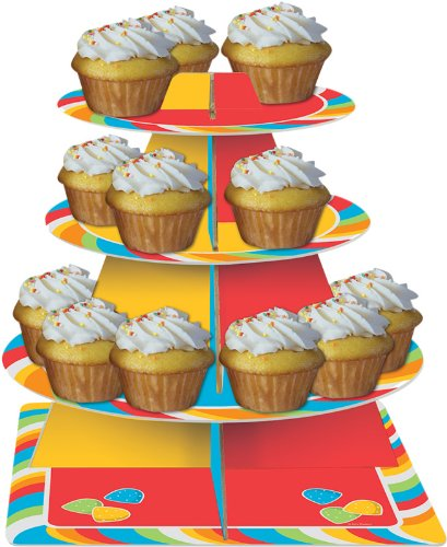 Creative Converting Sugar Buzz Tiered Snack or Cupcake Server - 1