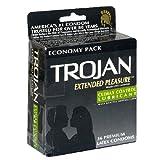 Trojan Extended Pleasure Premium Latex Condoms, Climax Control Lubricant , 36 condoms