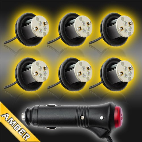 Amber 6Pc 4Watt High Power Led Emergency Strobe Flash Light Kit 20 Flash Modes With Memory Function -Universal 12V-Max Load 10 Bulbs