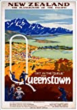 Fantastic A4 Glossy Print - 'New Zealand - Queenstown' - Taken From A Rare Vintage Travel Poster (Vintage Travel / Transport Posters)