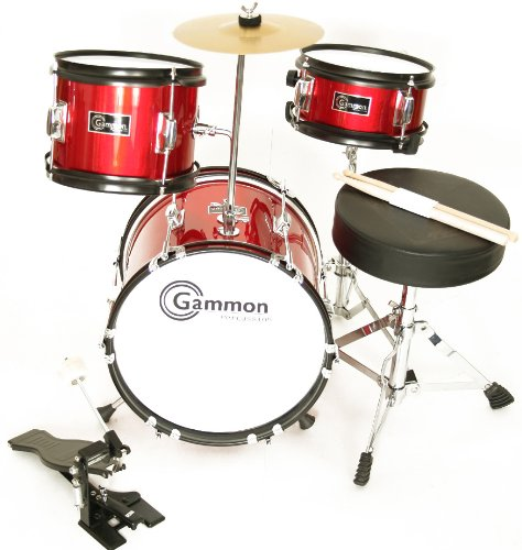Red Complete Junior Kid's Child Drum Set with Cymbal Stool Sticks