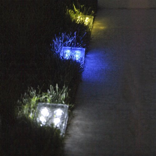 Outdoor Patio Brick Lights: Solar Brick Light LED Lantern Ice Frosted Glass Outdoor