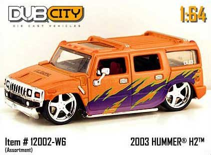 Jada Dub City Orange & Purple 2003 Hummer H2 1:64 Scale Die Cast Car