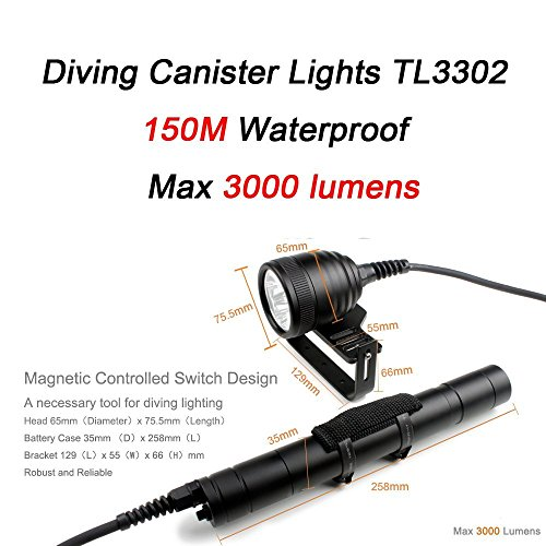 Merlin light Diving Canister Lamp 150M Waterproof 3000lumens Diving Lantern Scuba Lights for Dive with Goodman Handle 492ft 3pcs Cree L2 U2 Magnetic Switch 5 Modes