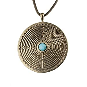 Labyrinth Peace Bronze Pendant Necklace with 6mm Tibetan Turquoise Gemstone on Adjustable Natural Cord