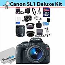 Canon EOS Rebel SL1 Digital SLR Camera with EF-S 18-55mm f/3.5-5.6 IS STM Lens with SSE Bundle Kit which Includes .43x Wide Angle Lens, 2.2x Telephoto Lens, 3 Piece Filter Kit, 4 Piece Closeup Macro Lens Set, 16GB SD Memory Card, Carrying Case, Tripod and MORE