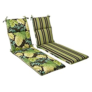 Pillow perfect indoor outdoor green brown tropical striped for Black and white striped chaise lounge cushions