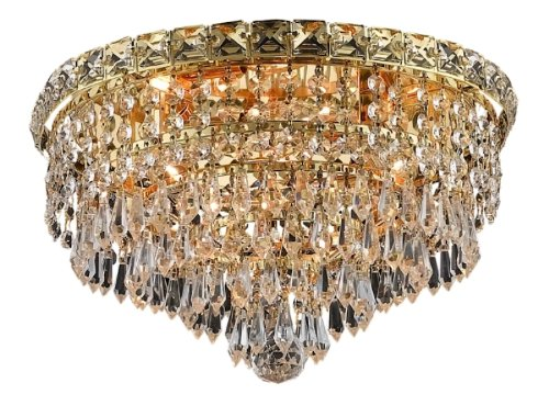 Elegant Lighting 2526F14G/Rc Tranquil 9-Inch High 4-Light Flush Mount, Gold Finish With Crystal (Clear) Royal Cut Rc Crystal front-968323