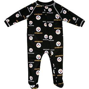 Pittsburgh Steelers Black Logos Sleeper Infant Baby at Steeler Mania