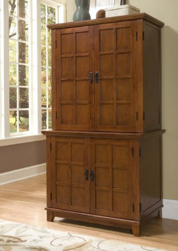 Arts And Crafts Compact Computer Cabinet And Hutch Oak